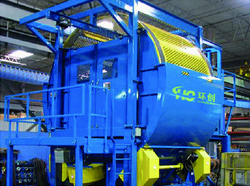 Rotating screen for double shaft shredders