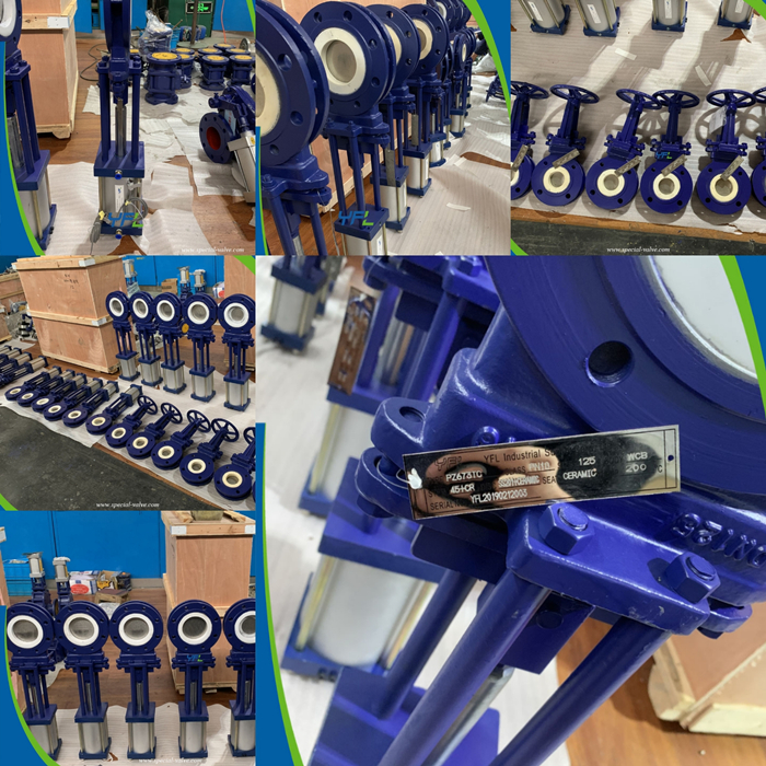 abrasion resistant pneumatic ceramic knife gate valve for limestone