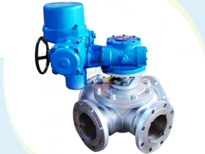 Motorized four way ball valves