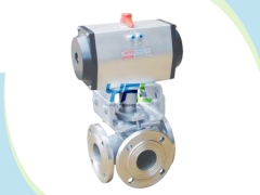 Pneumatic three way plug valves