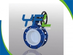 Flanged PTFE Lined butterfly valve