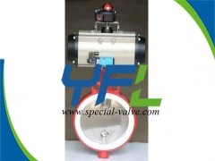 Polishing CF8M Disc PTFE Lined butterfly valve