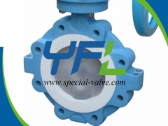 150lbs 6in Lugged PFA Lined butterfly valve